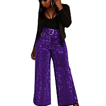 Purple New Design Shiny Belted Casual Wide Leg Pants Club Solid Bottoms F8252