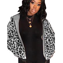 Gray Leopard Pattern Print Zip Up Hoodie F8256