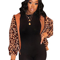 Brown Leopard Pattern Print Zip Up Hoodie F8256
