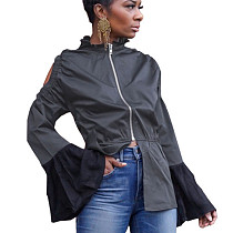 Black Zip Up Half Zipper & Pleated Cuff Blouse DN8344