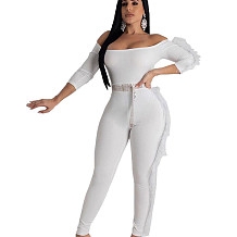 White Solid Off Shoulder Feather Trim Bodycon Jumpsuit DN8349