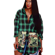 Green Plaid Patched Pocket Back Print Skirt DN8343