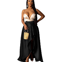 Black High Wasit Draped Split Side Dress DN8350
