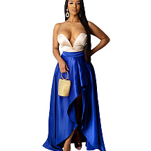 Blue High Wasit Draped Split Side Dress DN8350