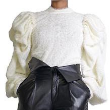 Querida branca Bishop SLeeve lantejoulas Bodycon blusa DN8347