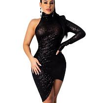 Черное мини-платье с блестками и шейкой в полоску ED8165