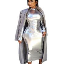 Silver Shiny Halter Neck Bodycon Party Long Dress C2049