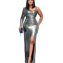 Gray Shiny One Shoulder Split Hem Split Long Dress YX9187