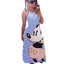 Striped Blue Cartoon Pattern Slip Long Dress N9191
