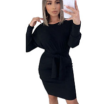 Black Round Neck Long Sleeve Wrap Knotted Mini DressN9189