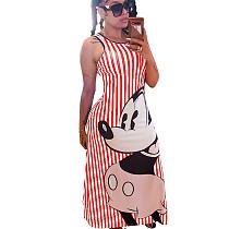 Striped Red Cartoon Pattern Slip Long Dress N9191