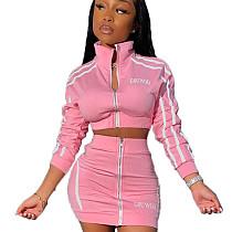 Pink Stripes Printed Halter Neck Sport Set with Zipper KSN5099