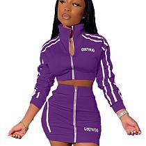 Purple Stripes Printed Halter Neck Sport Set with ZipperKSN5099