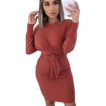 Orange Round Neck Long Sleeve Wrap Knotted Mini Dress N9189