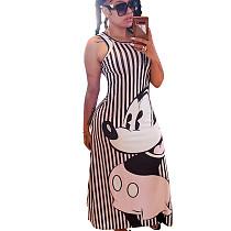Striped Black  Cartoon Pattern Slip Long Dress N9191
