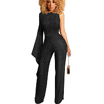Gray Strip Sheer Stripes Texture Asymmetrical Shoulder Sexy Jumpsuit SMR9466