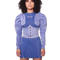 Patchwork azul Bishop ombro manga comprida Casual Mini vestido com zíper falso SMR9527
