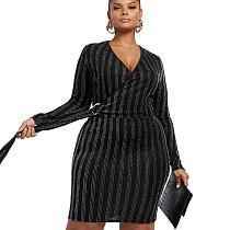 Black V Neck Long Sleeve Lady's Wrap Knotted Midi DressSMR9524