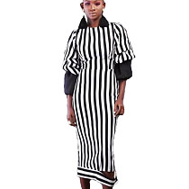 Black and White Stripes Print Bishop Sleeve Long Dress KSN5103
