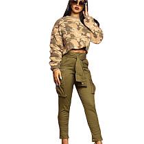 Camouflage Pattern Print Blouse & Wrap Tied Pants Set LA3165