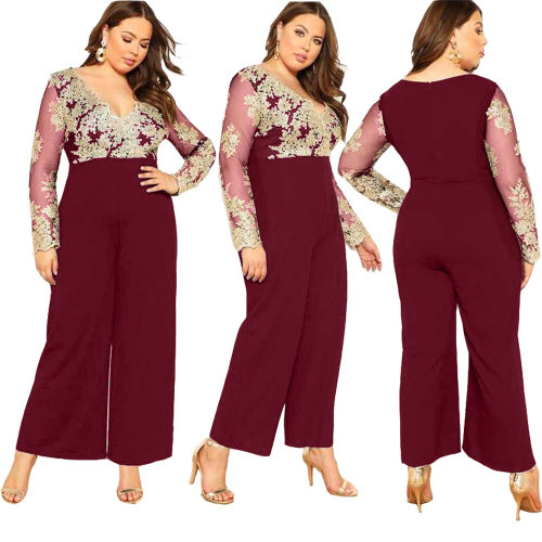 Wine Red Plunging V Neck Embroidery  Jumpsuit with Wide Leg Bottom JLX7009