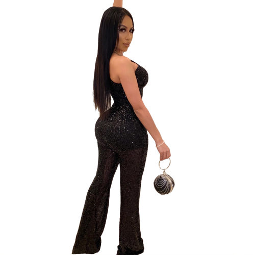 Black Asymmertrical One SHould Hollow Out Sequined Jumptsuit QZ4093
