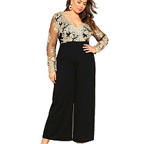 Black Plunging V Neck Embroidery  Jumpsuit with Wide Leg Bottom JLX7009