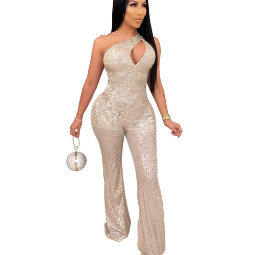 Champagne Asymmertrical One SHould Hollow Out Sequined Jumptsuit QZ4093
