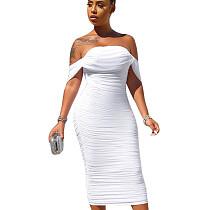 فستان طويل بدون أكتاف أبيض بدون أكتاف SN3738