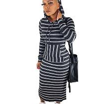 Black Stripes Print Hoodie Long Dress N9188