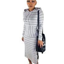 White Stripes Print Hoodie Long Dress N9188