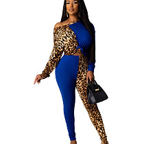 Blue One Should Leopard Patter Patched Wrap & Knotted Blouse & Skiny Pants Set YT3199