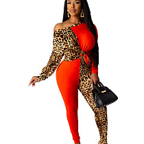 Red One Should Leopard Patter Patched Wrap & Knotted Blouse & Skiny Pants Set YT3199