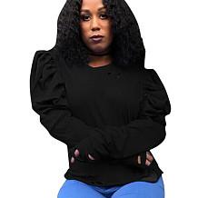 Black Round Neck Bishop Sleeve Shirt Blouse S6188