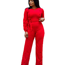 Red Wrap & Tied Jumpsuit with Button Detail T3397