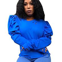 Blue Round Neck Bishop Sleeve Shirt Blouse S6188