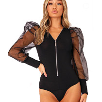 Black Zip Front V Neck 3d Romper Short Jumpsuit with Biship Sleeve MR231