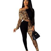 Black One Should Leopard Patter Patched Wrap & Knotted Blouse & Skiny Pants Set YT3199