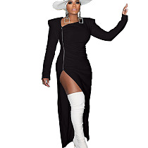 فستان أسود طويل بسحاب أمامي بشق جانبي OMY8010