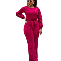 Peach Wrap & Tied Jumpsuit with Button Detail T3397