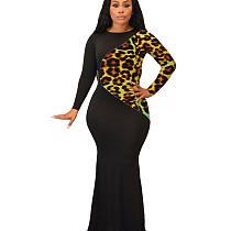 فستان ليوبارد باتر أسود رقبة طويلة