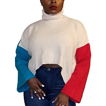 White Turtle Neck Patched Color Sleeve Midriff Lady's Sweater LMM8112