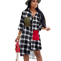White & Black Plaid Asymmertrical Bottom Shirt with Patched Pocket OMM1099 OMM1099