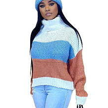Blue Constrast Colors Turtle Neck Sweater ARM8152