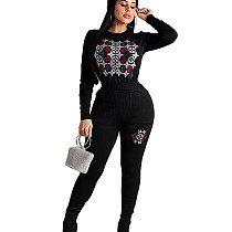 Black  Embroidery Detail T-shirt Blouse & Pants Set MA6299