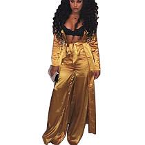 Brown Silk Loose Self-Belted Coat & Pants Set MY9289
