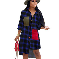 Navy Blue Plaid Asymmertrical Bottom Shirt with Patched Pocket OMM1099
