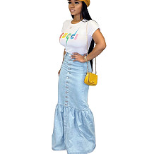 Light Blue Button Front Long Skirt with Pleated Buttom SMR9508