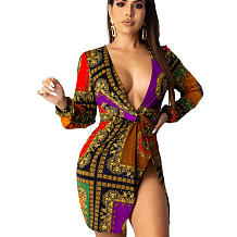 Constrast Colors Plunging Neck Self Tied & Wrap Split Mini Dress LA3712