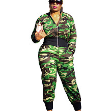 Camouflage Zip front Blouse with Wasitband & Pants Set S6190